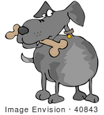 #40843 Clip Art Graphic Of A Grey Dog Guarding A Bone In His Mouth