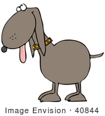 #40844 Clip Art Graphic Of A Panting Dog Hanging His Tongue Out And Looking Upwards