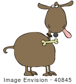 #40845 Clip Art Graphic Of A Dog With An Annoyed Expression Hanging His Tongue Out