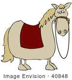 #40848 Clip Art Graphic of a Bored Fat Horse With A Red Blanket On Its Back by DJArt