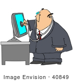 #40849 Clip Art Graphic Of A Pc Doctor Inspecting A Computer With A Stethoscope
