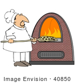 #40850 Clip Art Graphic Of A Pizza Chef Inserting A Pie Into A Hot Brick Oven