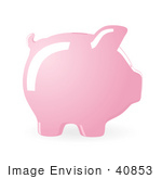 #40853 Clip Art Graphic Of A Ceramic Piggy Bank'S Profile