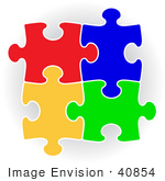 #40854 Clip Art Graphic of Colorful Puzzle Pieces Connecting Together by Oleksiy Maksymenko
