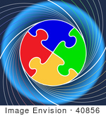 #40856 Clip Art Graphic Of A Circle Of Colorful Puzzle Pieces Linked On A Swirling Blue Background