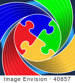 #40857 Clip Art Graphic Of A Circle Of Colorful Puzzle Pieces Linked On A Swirling Red Green Yellow And Blue Background