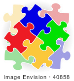 #40858 Clip Art Graphic of a Stack of Colorful Puzzle Pieces Connected by Oleksiy Maksymenko