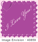 #40859 Clip Art Graphic of Purple Hearts Bordering I Love You Text by Oleksiy Maksymenko