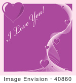 #40860 Clip Art Graphic of a Swirl Of Purple Hearts On A Background With I Love You Text by Oleksiy Maksymenko