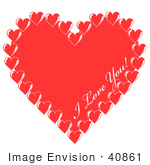 #40861 Clip Art Graphic Of I Love You Text Inside A Big Red Valentine Heart Bordered By Small Hearts