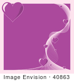#40863 Clip Art Graphic of a Border Of Little Hearts And White Lines Over Purple by Oleksiy Maksymenko