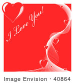 #40864 Clip Art Graphic of I Love You Text Over Red With Hearts And White Lines by Oleksiy Maksymenko