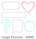 #40865 Clip Art Graphic Of Question Mark Heart And Other Shaped Conversation Boxes