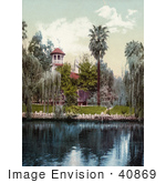 #40869 Stock Photo Of A Building On The Lakefront At Lucky Baldwin'S Ranch In Pasadena California