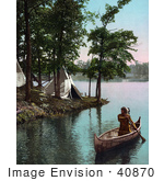 #40870 Stock Photo Of A Native American Indian Man Paddling Past Tipis In A Boat