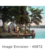 #40872 Stock Photo Of Native American Indians Standing On The Waterfront By A Tipi Assisting Hunters As They Return Ot Shore