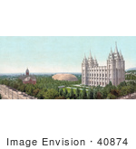 #40874 Stock Photo Of A View On Temple Square Salt Lake City Utah