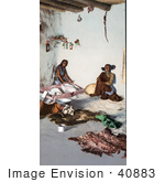 #40883 Stock Photo Of Hopi Women Preparing Hides At The Matate Moki Pueblos Arizona