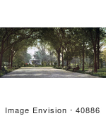 #40886 Stock Photo Of People Sitting On Benches Under A Canopy Of Trees Near The Fountain In Forsyth Park Savannah Georgia
