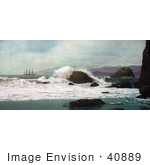#40889 Stock Photo Of A Ship Out At Sea As Seen From A Beach At The Golden Gate San Francisco California