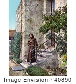 #40890 Stock Photo Of A Monk Brother Odoricus Standing Outside On The Steps Of Mission Santa Barbara California
