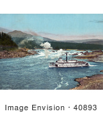 #40893 Stock Photo Of A Steamer On The Columbia River With A Vew Of The Cascade Mountains