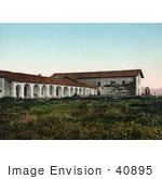 #40895 Stock Photo Of A Field In Front Of Mission San Miguel Arcangel In San Miguel California