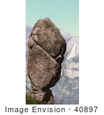 #40897 Stock Photo Of Agassiz Rock Balanced On A Cliff At Union Point And Yosemite Falls California