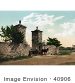#40906 Stock Photo Of A Horse Pulling A Man In A Wagon Through The Old City Gate In St Augustine Florida