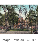 #40907 Stock Photo Of Men Sitting On A Bench In Front Of Independence Hall In Philadelphia Pennsylvania