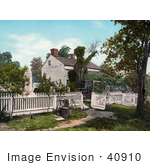 #40910 Stock Photo Of A White Picket Fence Around General Meade'S Military Headquarters In Gettysburg Pennsylvania