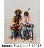 #40916 Stock Photo of a Native American Couple, Pee Viggi And His Wife, Sitting Side By Side by JVPD