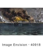 #40918 Stock Illustration Of Explosions During The Bombardment Of Fort Sumter Charleston Harbor South Carolina On The 12th And 13th Of April 1861