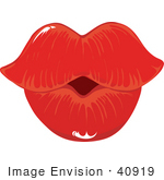 #40919 Clip Art Grapic of Woman's Puckered Lips In Red Lipstick by Maria Bell