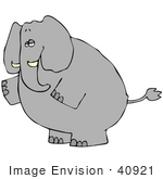 #40921 Clip Art Graphic Of A Standing Gray Elephant Gesturing To The Left