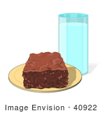 #40922 Clip Art Graphic Of A Tall Glass Of Fresh Milk Beside A Brownie On A Plate