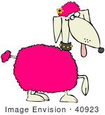 #40923 Clip Art Graphic of a Prancing Spoiled Pink Poodle With A Flower In Her Hair by DJArt