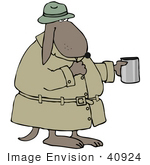 #40924 Clip Art Graphic Of A Broke Dog In A Hat And Coat Holding Out A Cup And Begging For Money