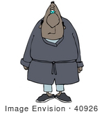 #40926 Clip Art Graphic of a Grouchy Black Man In His Robe And Pajamas, Just Waking Up In The Morning by DJArt