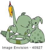 #40927 Clip Art Graphic Of A Group Of Silly Green Bird Snake And Dog Like Dinosaurs