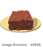 #40929 Clip Art Graphic Of A Tasty Chocolate Brownie Dessert Square On A Plate
