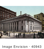 #40943 Stock Photo Of A Busy Street Scene In Front Of The Illinois Trust And Savings Bank In Chicago Illinois