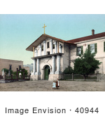 #40944 Stock Photo Of Children Holding Hands And Walking In Front Of The Mission San Francisco De Asis In San Francisco California