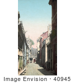 #40945 Stock Photo Of Champlain Street Through Residential Houses In Quebec Canada