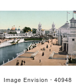 #40948 Stock Photo Of People Strolling On The Promenade At The Trans-Mississippi And International Exposition In Omaha Nebraska