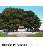 #40949 Stock Photo Of Cannon And The High Water Mark Cemetery Ridge Gettysburg Pennsylvania