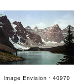 #40970 Stock Photo Of Valley Of The Ten Peaks Mountains Surrounding Moraine Lake In Banff National Park Alberta Canada