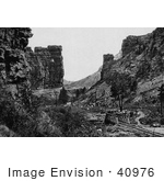 #40976 Stock Photo Of A Railroad Winding Through The Price Canyon At Castle Gate Utah