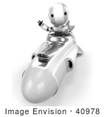 #40978 Clip Art Graphic Of An Ao-Maru Robot In Chrome Waving And Driving A Hovering Rocket