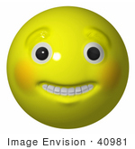 #40981 3D Clip Art Graphic of a Grinning Yellow Smiley Face With Teeth And Big Eyes by Jester Arts